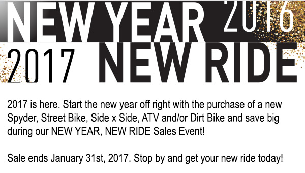 New Year, New Ride - Sale ends January 31st, 2017